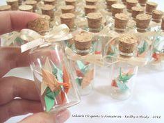 Vidrinhos com mini tsurus - Sakura Origami - http://www.sakuraorigami.com.br/