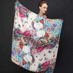 DANKEYI 110*110cm 100% Mulberry Big Square Silk Scarves Fashion Floral Printed Shawl Sale Women Genuine Natural Silk Scarf Shawl