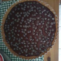 Torta de maça com cobertura de ganache de chocolate