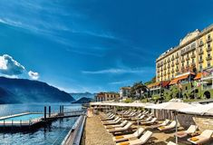 Elegant, stylish and fashionable, the Grand Hotel Tremezzo stands majestically on the western shore, offering sophisticated interiors combining strong colours and classical details. Sun yourself by the floating pool, sip cocktails on the terrace or zip along the lake in one of the hotel's chic water limousines. Lakeside Hotel, Lakeside Village, Lake Hotel, Hotel S, Grand Hotel, Best Hotel Deals, Best Hotels, Lake Como Italy Hotels, Italian Lakes