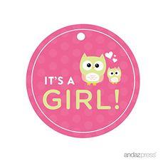 Andaz Press Modern Owl Girl Baby Shower Collection, Round...