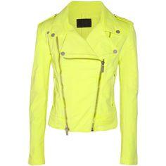 Karl Lagerfeld Jovanna neon stretch-denim biker jacket ($335) ❤ liked on Polyvore