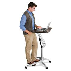 The desk we've all been waiting for! Levenger's Sit-to-Stand Rolling Workstation.