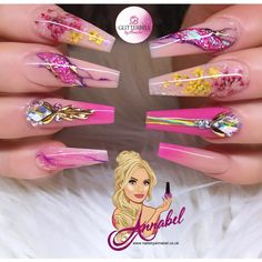 ⚜️Pink & Yellow Blossom⚜️ Inspired by I used Glitterbels Products :- Peacherbel Cover Glamandglits colours in :- Custom mixed… Dope Nails, Bling Nails, Fun Nails, Elegant Nails, Stylish Nails, Beautiful Nail Designs, Cute Nail Designs, Fabulous Nails, Gorgeous Nails