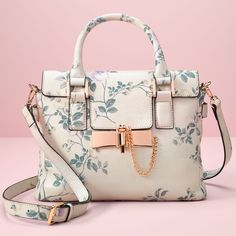 LC Lauren Conrad Runway Collection Look 26, leather crossbody bag in light floral