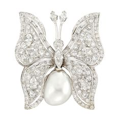 White Gold, Diamond and South Sea Baroque Cultured Pearl Butterfly Brooch