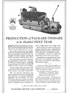 1919 Packard Twin-Six. Hemi Engine, Steam Engine, Old Classic Cars, Classic Auto, Old Advertisements, Motor Car, Super Cars, Auto Dealerships, Antique Cars