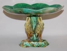 Antique English Majolica Lily Pad/Heron Compote, Not Marked: With a lily pad and blossom top plate and 3 figural herons around the base.