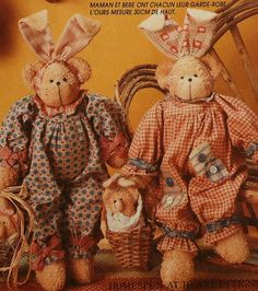 Teddy Bear Bunny Doll with Clothes Sewing Pattern