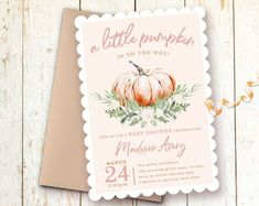 Pink Pumpkin Girl Baby Shower Invitations, Little Pumpkin is On the Way, Fall Pumpkin Baby Shower Girl, Autumn Baby Shower Invitations Girl Baby Shower Fall, Baby Shower Invites For Girl, Baby Shower Invitations, Fall Baby, Baby In Pumpkin, Little Pumpkin, 1st Birthday Invitations Boy, Pumpkin First Birthday, Girl Birthday