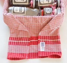 Cute gift basket idea! Wrap basket in dish towel and fill with favorite spices or jellys & honeys . . .