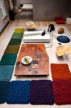 ohhellyeahspinning:    Giant Granny Squares made from roving!  More info