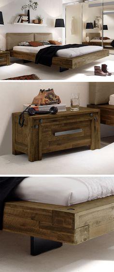 Schwebendes Doppelbett aus leichtem Akazienholz. | betten.de #bett #massivholz #rustikal #akazie #industrial http://www.betten.de/doppelbett-schwebend-akazie-penco.html