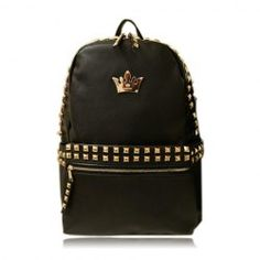 $17.66 Casual Women's Satchel With Rivets and Crown Design