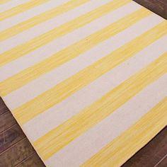 Awning Stripes Dhurrie Rug - Cornsilk & Sand SKU: XR13014 0508YE 5x8
