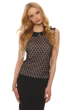 Sleeveless blouse in combination of lace outer and inner zersey with bebe look colar .Available in large sizes Spring Summer 2015, Polka Dot Top, Sleeveless Blouse, Spring Summer Fashion, Shopping, Tops, Women, Bebe, Woman