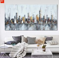 New York Skyline Cityscape Architecture Abstract Wall Art Oil Painting on Canvas Home Room Decoration Industrial