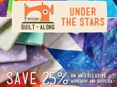 """This Craftsy Mystery Quilt-Along includes: Exclusive access to Nancy Smith's online workshop starting September 1, 2013 A one-of-a-kind """"Under The Stars"""" quilt pattern designed by Nancy Smith (appropriate for all difficulty levels; basic skills needed) A step-by-step workshop with in-depth written instructions and close-up photos that will help you complete the quilt pattern Welcome to Craftsy! Learn it. Make it. - via @Craftsy"""