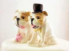 Bulldog Wedding Cake Toppers