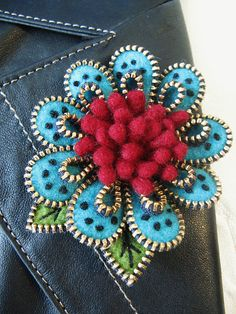 Flower & Leaves made out of Zippers and Felt by woolly fabulous.