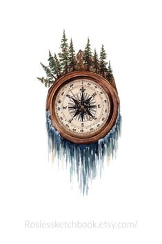 Compass wall art print- Compass wall art print Original watercolor compass painting art print for wall art and decor. Tattoo Drawings, Body Art Tattoos, Print Tattoos, Tattoo Art, Artwork Prints, Wall Art Prints, Compass Art, Hiking Tattoo, Natur Tattoos