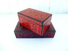 Mexican Boxes Hand Carved Lacquer Olinala Red by FreewheelFinds
