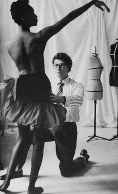 Yves Saint Laurent…creating one of his many masterpieces on Katoucha.