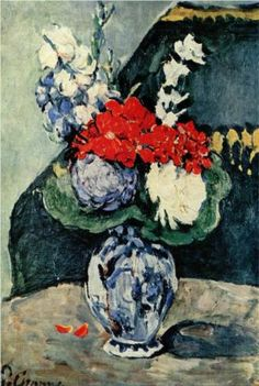 Still life, Delft vase with flowers - Paul Cezanne