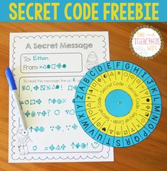 Secret Code Freebie! This includes a decipher wheel and a secret message worksheet. This is perfect for spelling practice, letter writing, and my writing center. My students will love this!