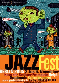 Cool design for Berlin Jazzfest Cover Design, Art Design, Jazz Poster, Poster Ads, People Illustration, Graphic Illustration, Plakat Design, Jazz Art, Festival Posters
