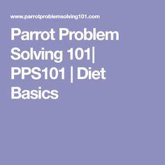 Parrot Problem Solving 101| PPS101 | Diet Basics