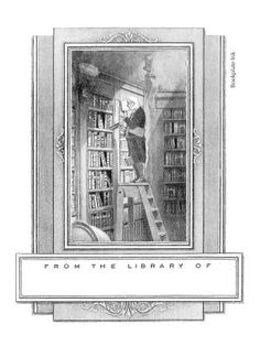 """One of our most popular designs, this adaptation of German Romanticist painter/poet Carl Spitzweg's famous satirical painting """"The Bookworm"""" was originally published by the Etchcraft Company. It was introduced by the Antioch Bookplate Company in the 1950s. It is also available without personalization in the Non-Personalized category."""