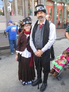 Steampunk father and daughter (happy father's day!) - For costume tutorials, clothing guide, fashion inspiration photo gallery, calendar of Steampunk events, & more, visit SteampunkFashionGuide.com