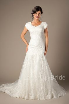Cassidy   Modest lace wedding dress   LatterDayBride & Prom   SLC   Utah   Worldwide shipping   LDS Bridal Gown   Gown available in White, Ivory or Gold/Ivory     *Gown pictured in Gold/Ivory