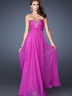 A-line Fuchsia Chiffon Long Prom Dress Formal Dress/ Evening Dress La Femme 18563