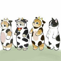 Cute Animal Drawings Kawaii, Cute Cat Drawing, Cute Drawings, Cute Little Kittens, Cute Cats, Dibujos Cute, Kawaii Chibi, Pretty Art, Cute Stickers