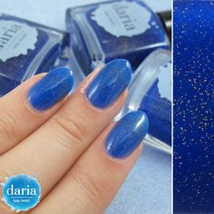 Can you see the stars in the sky? :) This is Starry Night from my first collection - a blue jelly with gold micro-glitter. Such an inspirational color. On the right you can see how it looks in the bottle.  Normally you should be able to see thru it to use it as a topper. But I also like the transparency of the polish on its own (3 coats in the pic). #darianailpaint