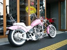 Pink Motorcycle, Motorcycle Stickers, Biker Chick, Biker Girl, Harley Davidson Motorcycles, Cars And Motorcycles, Honda Steed, Pink Bike, Classic Harley Davidson