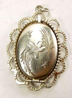 Vintage Sterling Silver Opening Locket Hand Etched