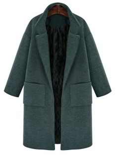 nice Vintage Lapel Long Sleeve Solid Color Pocket Thick Wool Coat For Women Plus Size Green Wool Coat, Long Wool Coat, Pijamas Women, Winter Mode, Vintage Coat, Mode Inspiration, Capsule Wardrobe, Coats For Women, Blazers