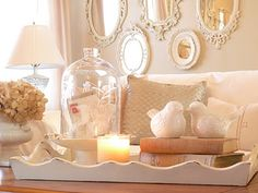 Love trays, and the mirrors in the background are so pretty