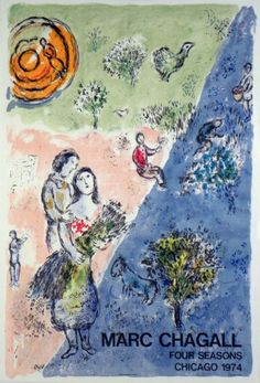 Plakate Marc Chagall Affiche Marc Chagall Poster Marc Chagall title The four Seasons technology Original color lithograph