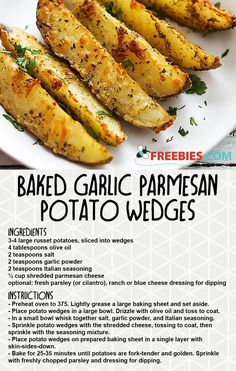 Potato wedges make the best side-dish, jazz them up with garlic and parmesan cheese in this recipe. Potato wedges make the best side-dish, jazz them up with garlic and parmesan cheese in this recipe. Russet Potato Recipes, Potato Side Dishes, Best Side Dishes, Side Dishes For Burgers, Hamburger Side Dishes, Easy Potato Recipes, Simple Easy Recipes, Easy Family Recipes, Recipes With Potatoes