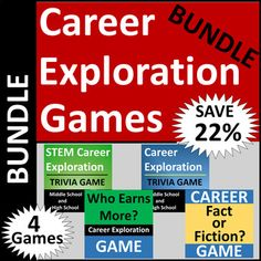 career exploration warmups or bell ringer activities career  career exploration game bundle