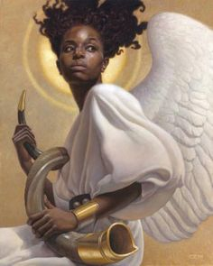 This release from Thomas Blackshear was inspired by the biblical scripture Joel and features a female African American angel preparing to sound the alarm. African American Expressions, African American Artist, African Art, Hair Afro, Thomas Blackshear, Ange Demon, Black Angels, Afro Art, My Black Is Beautiful