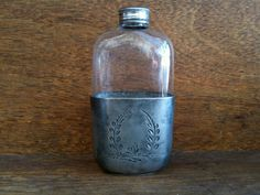 Vintage Irish Glass Flask with Silver by EnglishShop on Etsy, $79.00