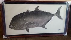 This gorgeous gyotaku was custom framed for maximum impact!