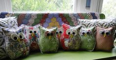 Adorable owl throw pillows...I might actually be able to do this one.