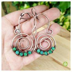 Genuine turquoise boho earrings, big spiral earrings,  wire wrapped earring turquoise,  copper wire earrings, wire tribal earrings hippie