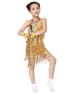 241825be2011 Performance Dancewear Polyester with Sequins Latin Dance Dress For Children